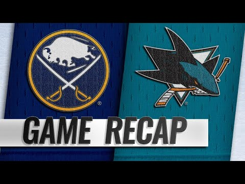 Couture records hat trick as Sharks down Sabres, 5-1